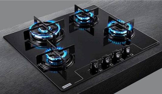 Cooktop a Gás Franke Glass 4 Queimadores 60 GTC Tripla Chama