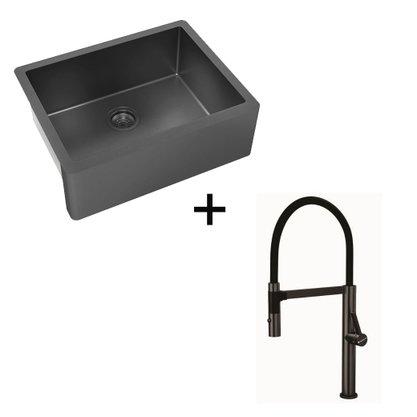 Kit Cuba Debacco Farm Sink Primaccore Nano Black + Monocomando Primaccore Com Imã
