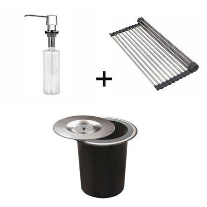 Kit Lixeira DeBacco 5 Litros + Dosador de Sabão 350ml + Grade Escorredora Inox